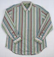 robert graham striped zig zag paisley flip cuff dress shirt xl men's