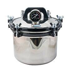 Silver 8L Portable Steam Autoclave Sterilizer Dental Equipment Dual heating POT