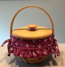 "Longaberger 2004 5"" Measuring Basket With Lid & Liner Red Weave Great!"