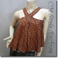 Cute Floral Babydoll Swing Camisole Blouse Top Brown Background S
