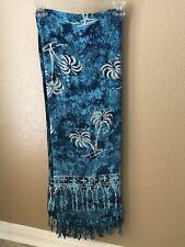 Blue Batik-like Sarong With Fringe