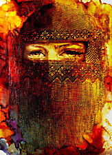 ACEO Mysterious Muslim Woman in a Niqāb Limited Editon Print by Sergej Hahonin
