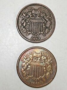 1864, 1865 Two Cent Coins