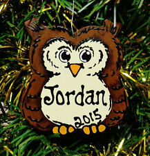 U CHOOSE NAME & YEAR Personalized OWL Christmas ORNAMENT Nature Animal Decor