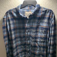 St John's Bay Mens XL Blue Plaid Hiking Camp Heavyweight Cotton Flannel Shirt