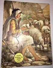 """VINTAGE OLD 8.25 x 11"""" DAVID WATCHES HIS SHEEP PUZZLE WORLD PRESS T3626 SHEPHERD"""