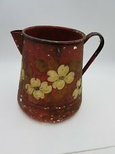"Vintage Folk Art Red Enamel Pail Painted Dogwood Flower Rustic Watering Can 11"""