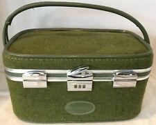 Vintage Skyway Luggage Makeup Train Case Tweed Design Avocado Green Combo Lock
