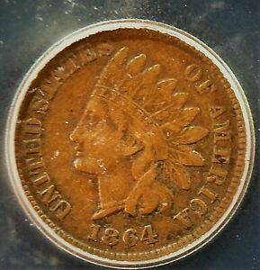 1864 Bronze USA Indian Head Small Cent ICG VF 20 Condition  (951)