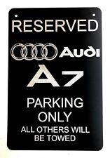 """Audi A7 Logo Parking Sign Diamond Etched on 12"""" X 18"""" Aluminum Matte Black"""