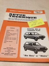 Revue Technique Automobile Austin MG Vanden Plas Mini Métro Metro éd.  85