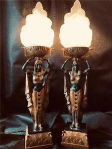 FINE CUSTOM MADE ART DECO STYLE EGYPTIAN 'NUBIAN QUEEN' PAIR OF ACCENT  LAMPS!