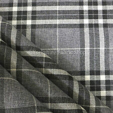 Light Grey Tartan Stripe Check Pattern Texture Weave Chenille Upholstery Fabric