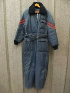 JCPenney Vtg 60s-70s Retro Blue Red One Piece Belted Snowmobile Suit Adult L