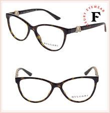 87bbac71b2c4 BVLGARI Diva 4119 Havana Gold RX Luxury Eyeglasses BV4119B Rhinestone  Authentic