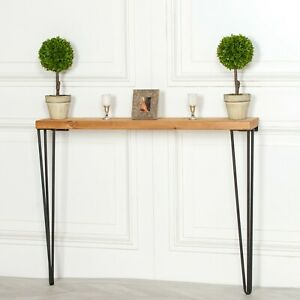 INDUSTRIAL STYLE NARROW RUSTIC WOODEN HAIRPIN HALL TABLE CONSOLE
