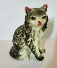 Ceramic Long Hair Cat Figurine 5 Inch Grey Kitty Crazy Cat Lady Gift