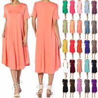 TheMogan Women & PLUS Short Sleeve A-line Fit & Flare Midi Long Dress W/ Pockets