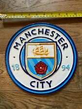 More details for new cast iron enamel sign manchester city fc sign 25 cm x 25 cm 2 kg of weight