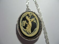 CAMEO LOCKET GODDESS PICKING GRAPES IVORY ON BLACK