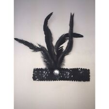 Black Sequin Feather Headband 1920's FANCY DRESS CHARLESTON FLAPPER BAND