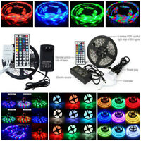 5M RGB 3528 5050 Waterproof LED Strip Light SMD 44 IR Remote 12V Power Full Kit