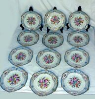 12 Hand Painted CARL THIEME DRESDEN PORCELAIN RETICULATED Cabinet PLATE OVINGTON