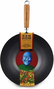 Ken Hom Classic 31cm Carbon Steel Non-Stick Coated Wok Asian Frying Pan