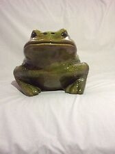 Awsome Large Ceramic Horned Frog Multi-Green/White Colors - Great for Tcu Fan!