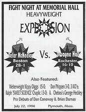 PETER McNEELEY vs DWAYNE HALL OFFICIAL ONSITE BOXING PROGRAM JULY 22, 1994