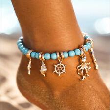 Anklet Beach Sandal Ankle Bracelets Boho Starfish Turquoise Beads Sea Turtle