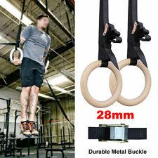Wooden Gymnastic Olympic Gym Rings Training w/ Heavy Duty Adjustable Straps Set