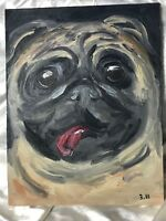 Original Oil Painting Naive Pug Animal Dog Panting Portrait Easter Present