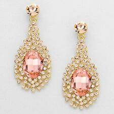 Gold Tone Rose Crystal Earrings Oval Faceted Crystal Large Drop Earrings
