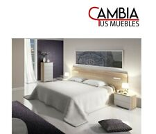 Cabezal dormitorio MORA, habitación de matrimonio, cabecero leds, color roble