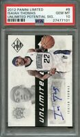 2012-13 panini limited unlimited potential signature #8 ISAIAH THOMAS rc PSA 10