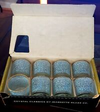 VINTAGE CRYSTAL CLASSICS 8 Old Fashioned Set by Jeannette Glass Co. BLUE/WHITE