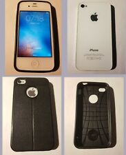 iPhone  4s A1387 32GB Smartphone Débloqué très bon état blanc avec protection.