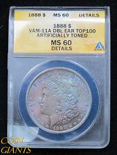 1888 Morgan Silver Dollar ANACS MS60 VAM-11A Top 100 Philadelphia Toned Coin!