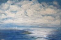 Large Original Contemporary Modern Fine Art Acrylic Seascape Sea painting Signed
