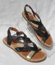 GENTLE SOULS Black Leather Gold Us Two LE Strappy Flats Sandals Shoes size US 10