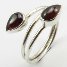 Sz 9.5 Gift Engagement Jewelry 925 Sterling Silver Drop Garnet Ring