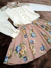 LIZ LISA Docking dress See-through chiffon blouse+Pleated skirt Japan Hime SizeM