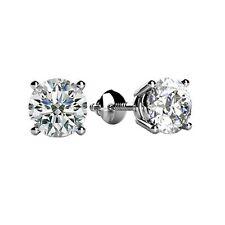 0.40 ct. tw Round Cut Diamond Studs 14K WG Four Prong Mounts F-G VS-2