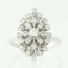 Diamond Cluster Cocktail Ring - 14k White Gold Round Brilliant .42ctw