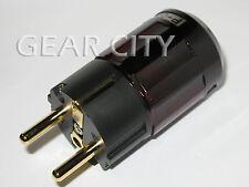 ppl4e Gold EU Schuko Mains Power Plug Male Copper Connector Cable Cord HiFi