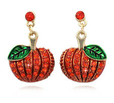 Pumpkin Dangle Charm Post Earrings Thanksgiving  Fall Jewelry Orange Crystal