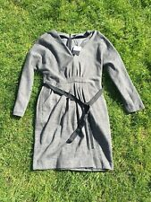 Jaeger Grey Cotton Wool Blend Jersey Dress with Belt and Pockets Size 14