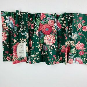 New Croscill Blouson Valance Polished Cotton Poly Victorian Pink Floral Green