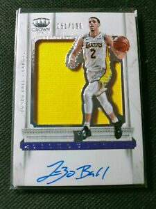 Lonzo Ball 2017-18 Panini Crown Royale Silhouettes Auto Jersey Rc Rookie 051/199